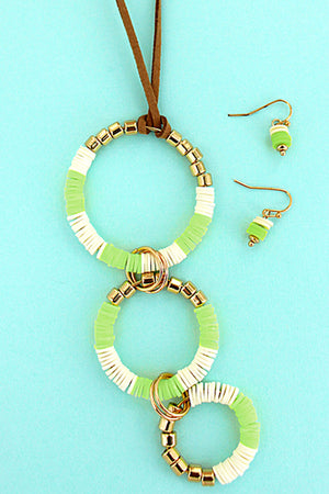 Lime Disk and Goldtone Bead Tiered Circle Necklace and Earring Set