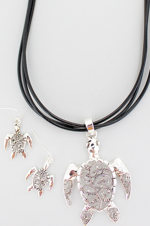 Silvertone Marcasite Turtle Multi-Cord Necklace and Earring Set