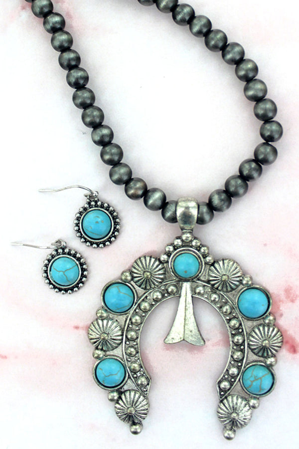 Turquoise Naja Silver Navajo Inspired Pearl Necklace and Earring Set