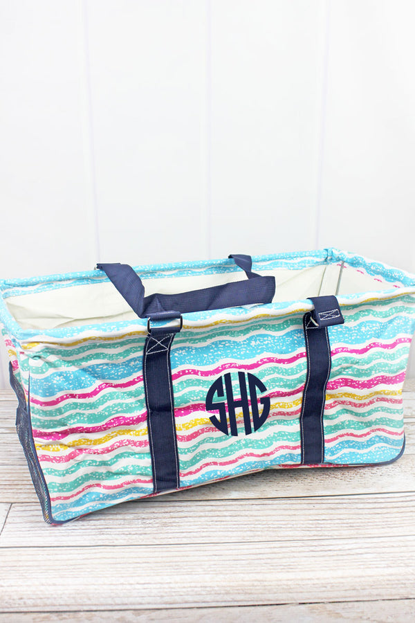 Fruit Stripes Collapsible Haul-It-All Basket with Mesh Pockets