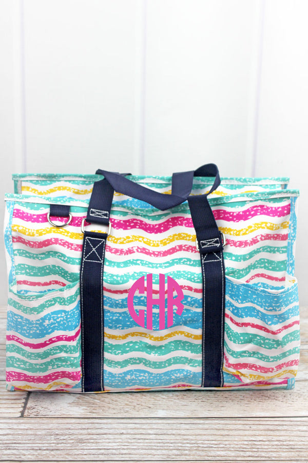 Fruit Stripes Utility Tote with Navy Trim