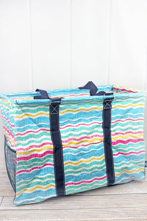 Fruit Stripes Collapsible Double Haul-It-All Basket with Mesh Pockets and Lid