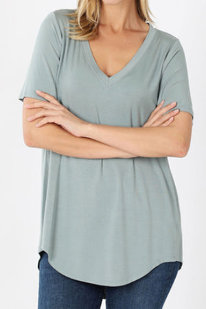 Light Green Luxe Rayon Short Sleeve V-Neck Top