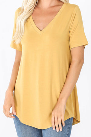 Light Mustard Luxe Rayon Short Sleeve V-Neck Top
