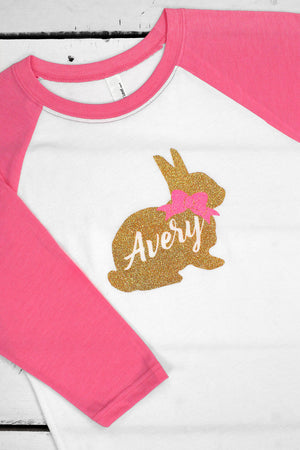 Easter Bunny Name Youth 3/4 Sleeve Raglan *Personalize It