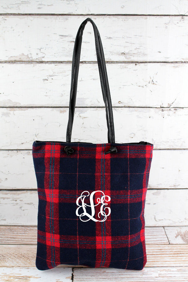 Navy and Red Plaid Tote Bag