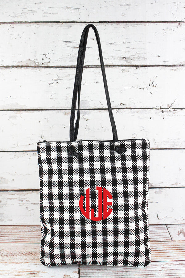 Black and White Buffalo Check Tote Bag