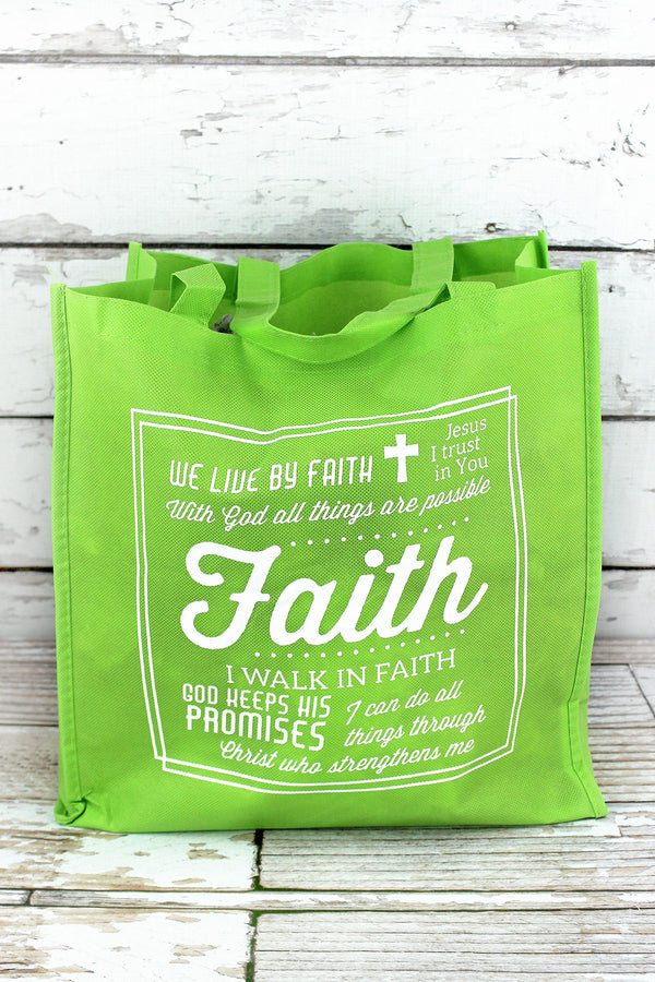 Messages of Faith Lime Green Tote Bag