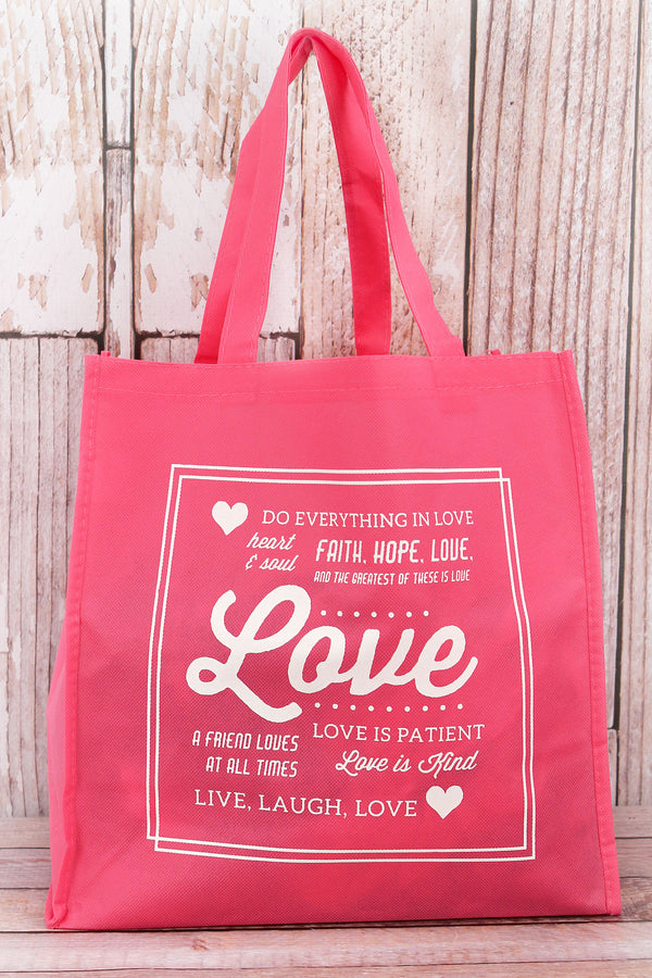 Messages of Love Pink Tote Bag