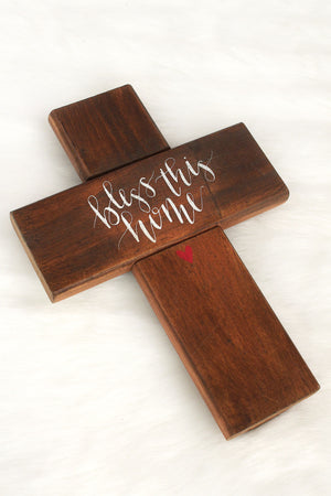 10.25 x 7.25 'Bless This Home' Wood Wall Cross