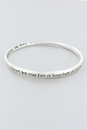 Teacher's Prayer Silvertone Twist Bangle #B9011L-ATS