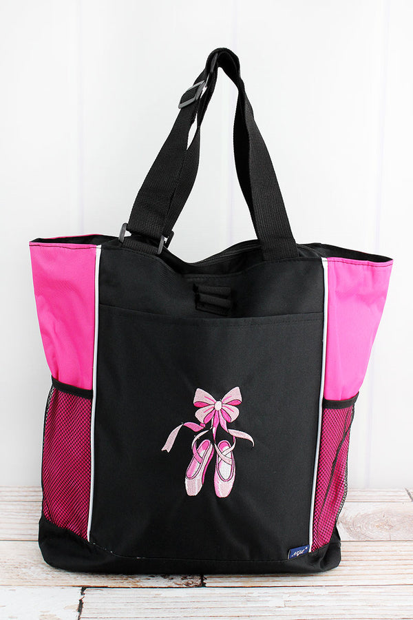 Black with Hot Pink Trim Ballerina Slippers Tote