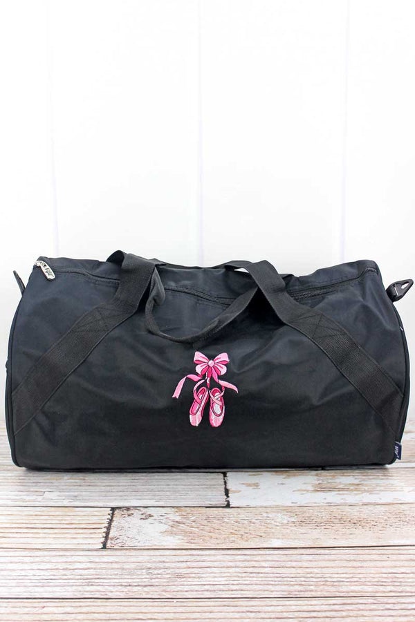 Embroidered Ballerina Slippers Black Barrel Duffle Bag 18""