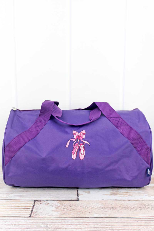 Embroidered Ballerina Slippers Purple Barrel Duffle Bag 18""