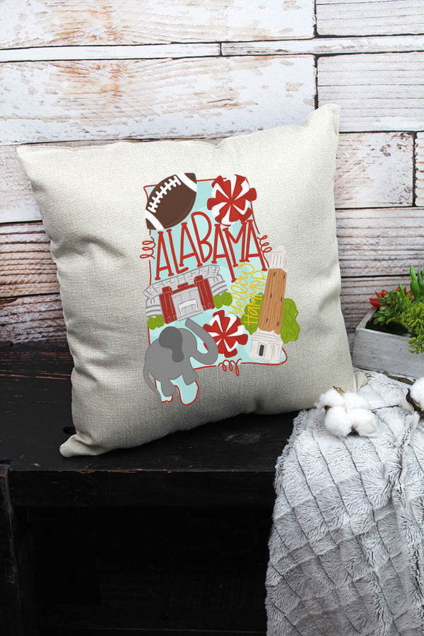State Alabama Doodle Decorative Pillow Cover
