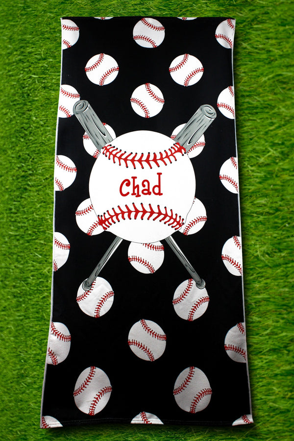 PRE-ORDER* Baseball Black Beach Towel **EXPECTED SHIP DATE 3/10**
