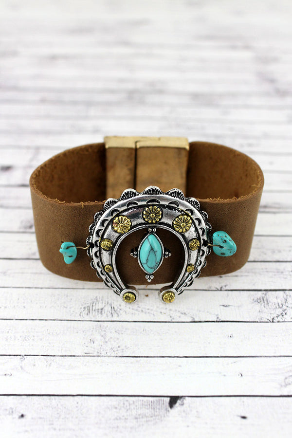 Turquoise Beaded Two-Tone Squash Blossom Faux Leather Magnetic Bracelet