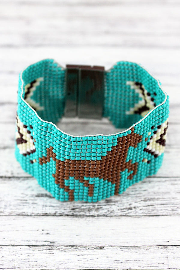 Turquoise Multi-Color Southwestern Horse Seed Bead Magnetic Bracelet