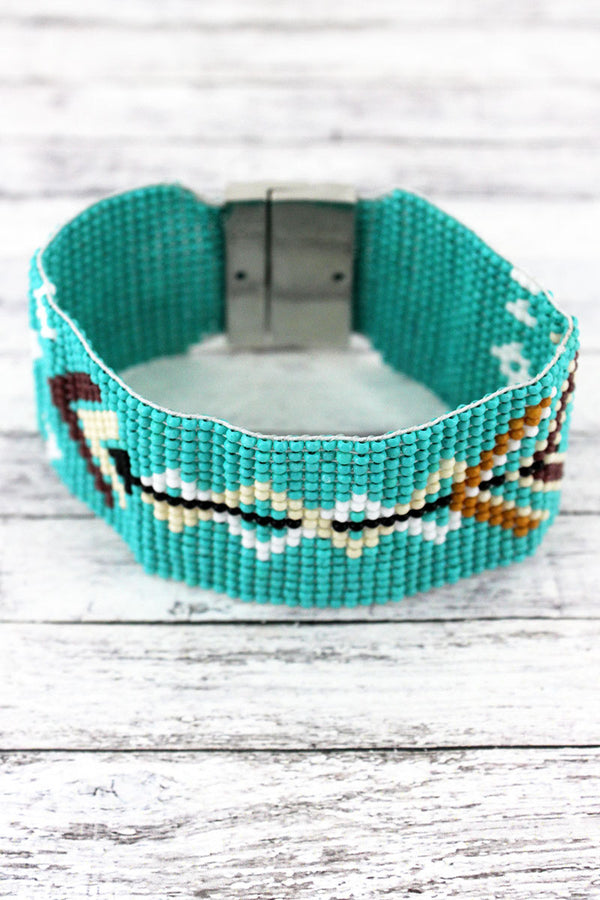 Turquoise Multi-Color Southwestern Arrow Seed Bead Magnetic Bracelet