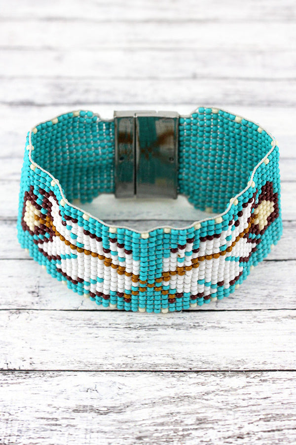 Turquoise Multi-Color Southwestern Feather Seed Bead Magnetic Bracelet