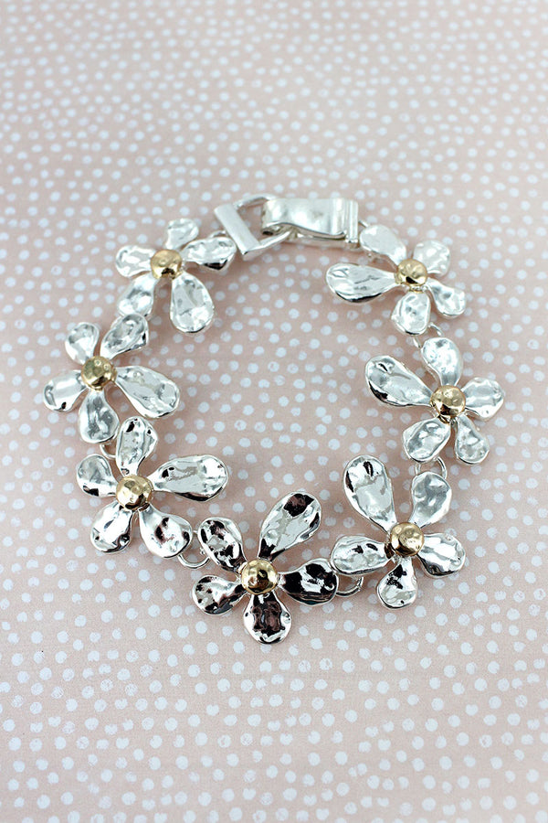 Hammered Two-Tone Flower Magnetic Bracelet