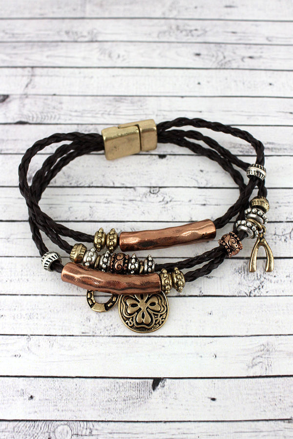 Tri-Tone Luck Themed Charm Triple Cord Magnetic Bracelet