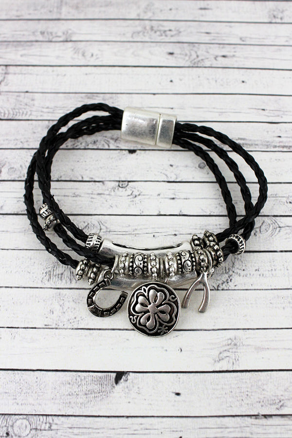 Worn Silvertone Luck Themed Charm Triple Cord Magnetic Bracelet