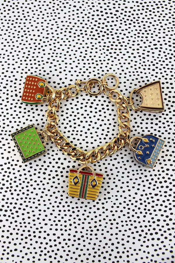 Handbag Themed Goldtone Charm Toggle Bracelet