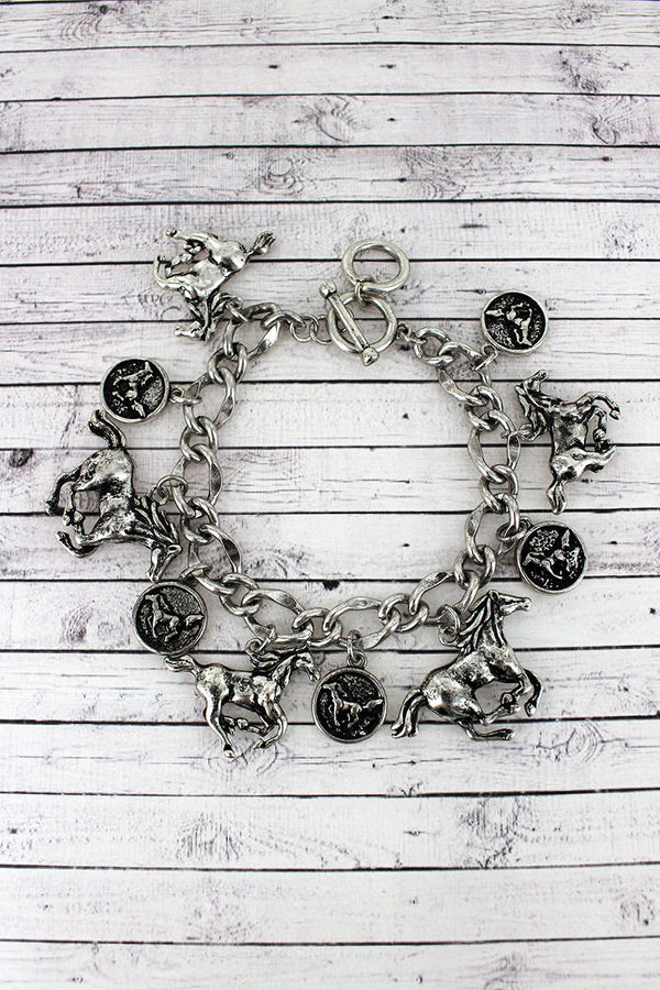 Burnished Silvertone Galloping Horse Charm Toggle Bracelet