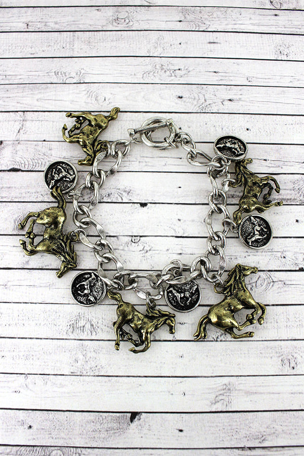 Burnished Two-Tone Galloping Horse Charm Toggle Bracelet