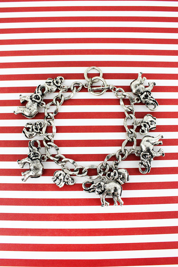 Burnished Silvertone Elephant Charm Toggle Bracelet