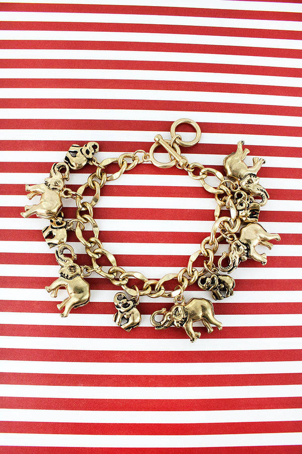 Worn Goldtone Elephant Charm Toggle Bracelet