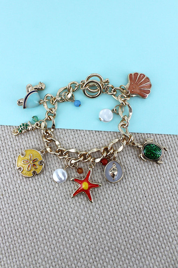 Sea Life Themed Goldtone Charm Toggle Bracelet