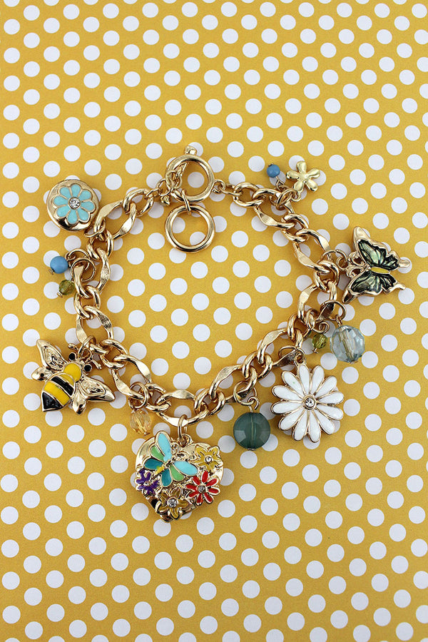 Garden Themed Goldtone Charm Toggle Bracelet