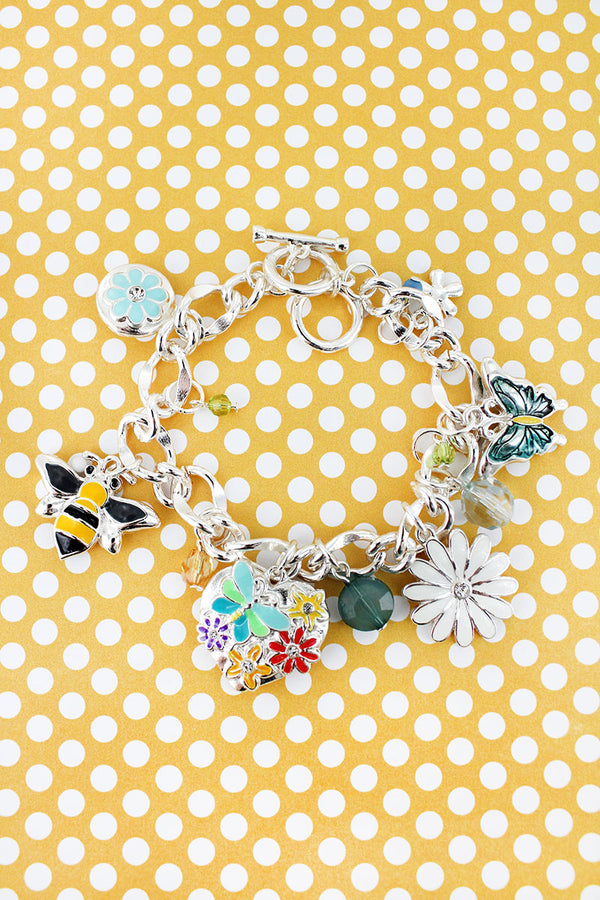 Garden Themed Silvertone Charm Toggle Bracelet