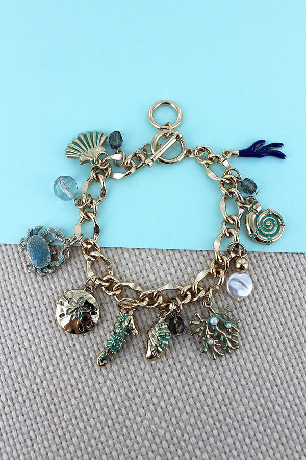 Under The Sea Goldtone Charm Toggle Bracelet