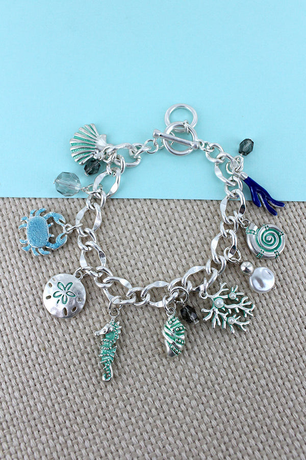 Under The Sea Silvertone Charm Toggle Bracelet