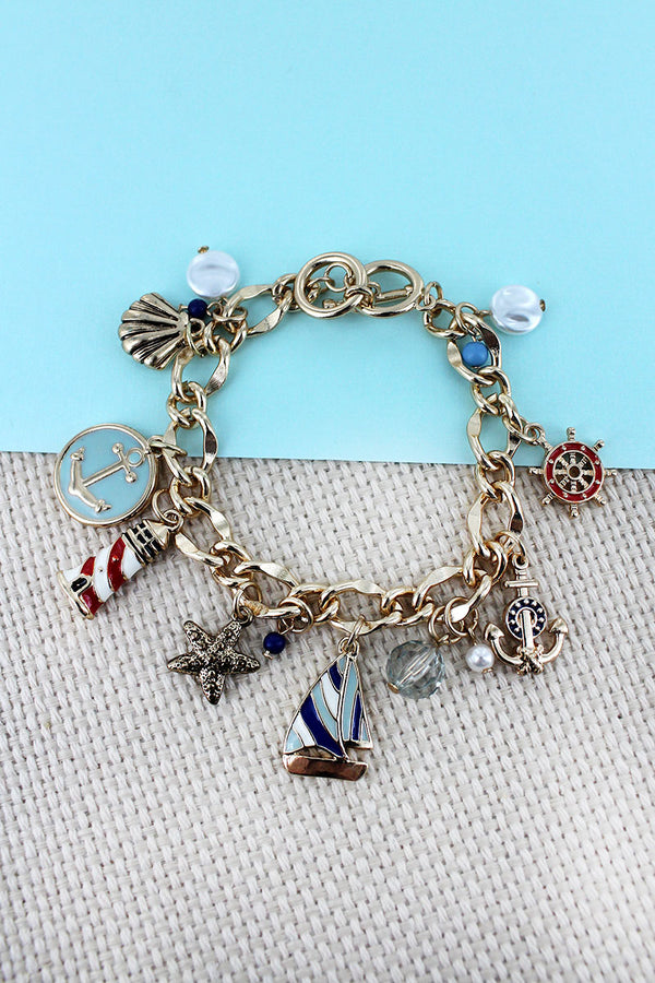 Nautical Themed Goldtone Charm Toggle Bracelet
