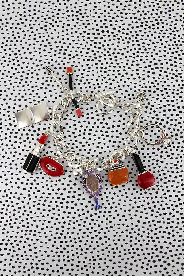 Beauty Themed Silvertone Charm Toggle Bracelet