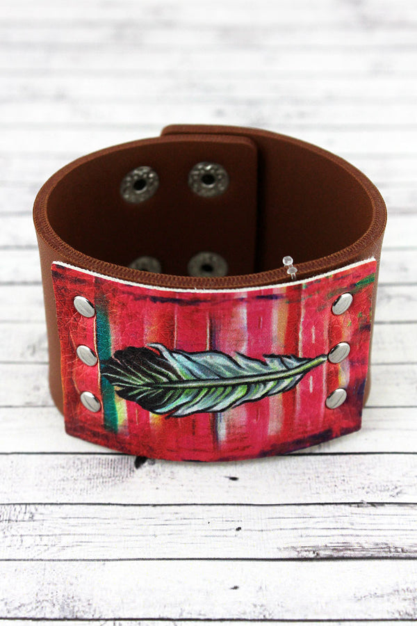 Red Western Feather Brown Faux Leather Cuff Bracelet