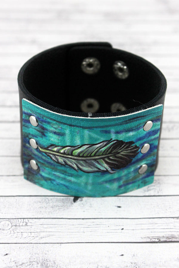 Blue Western Feather Black Faux Leather Cuff Bracelet