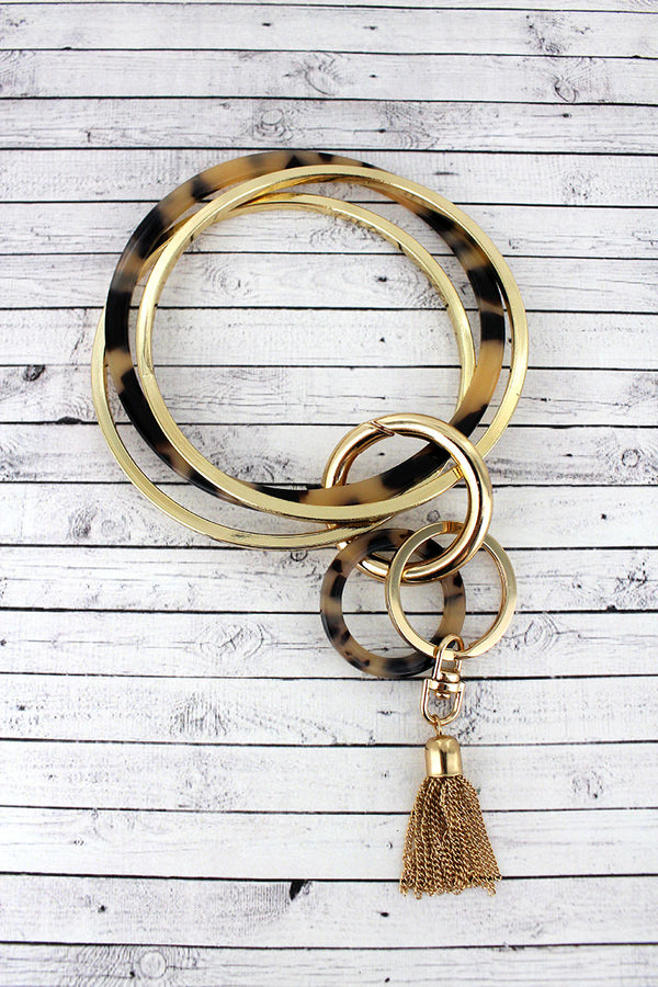 Goldtone and Light Tortoiseshell Triple Bangle Keychain