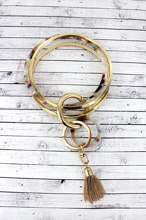 Goldtone and Multi-Color Marbled Triple Bangle Keychain