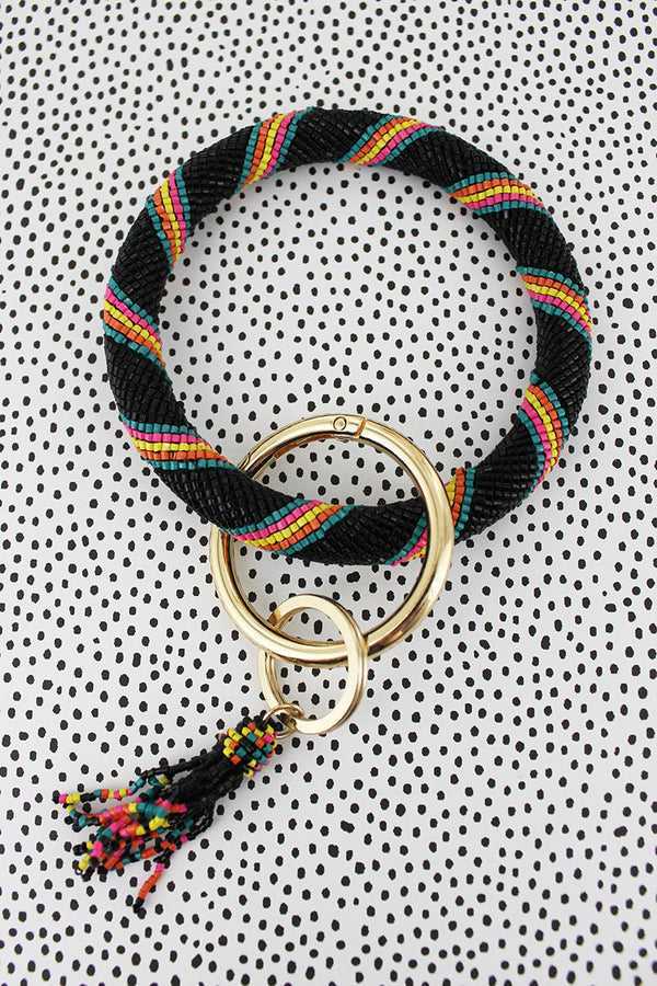 Sunrise Stripe Seed Bead Tassel Bangle Keychain