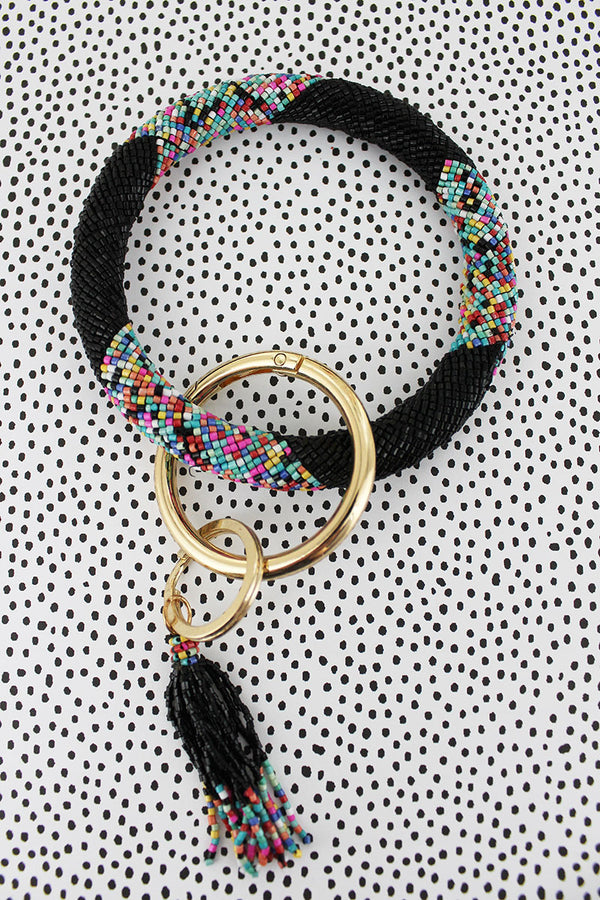 Licorice Sprinkles Seed Bead Tassel Bangle Keychain