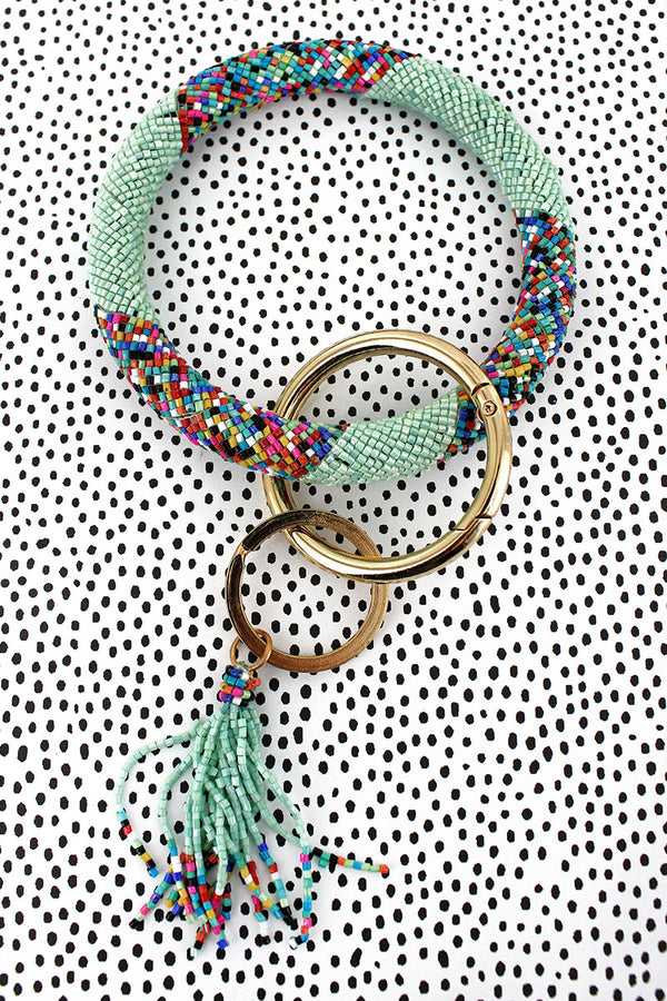 Mint Sprinkles Seed Bead Tassel Bangle Keychain