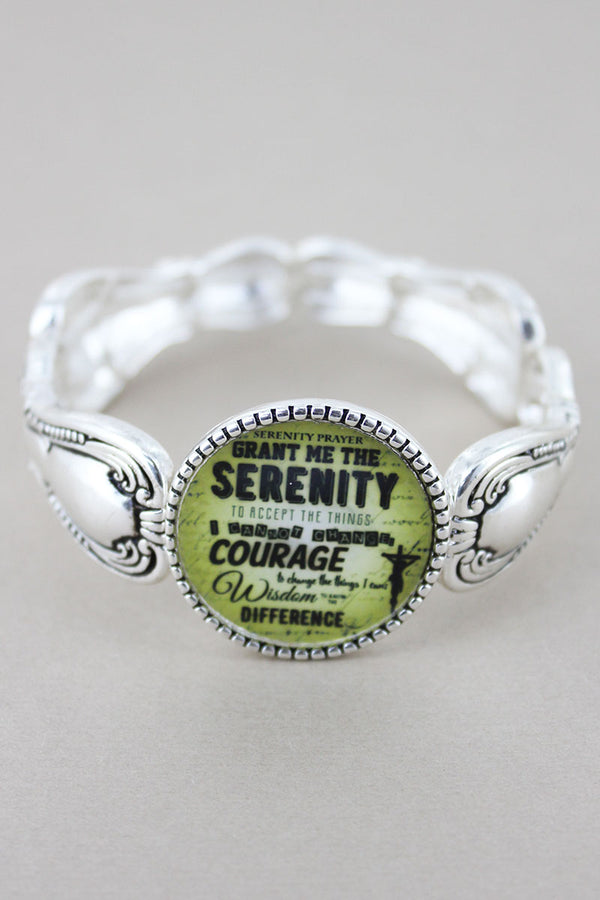 Serenity Prayer Disk Silvertone Spoon Stretch Bracelet