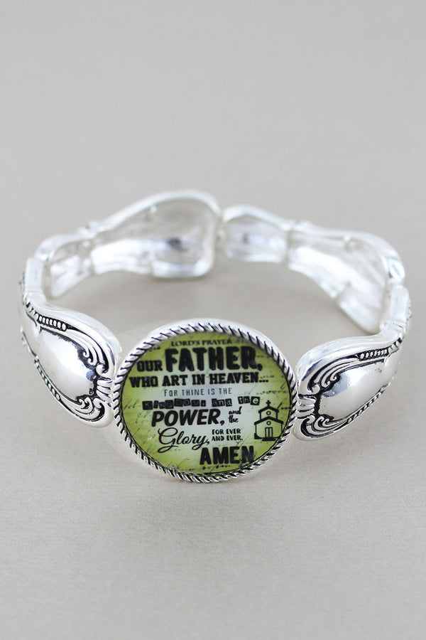 Lord's Prayer Disk Silvertone Spoon Stretch Bracelet