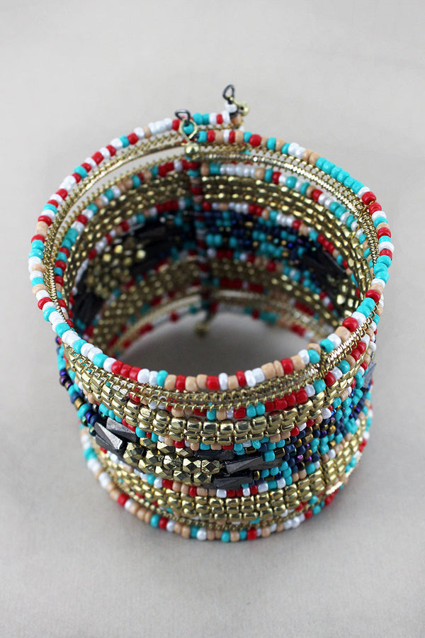 Gold Multi-Color Mixed Bead Wide Overlap Bracelet