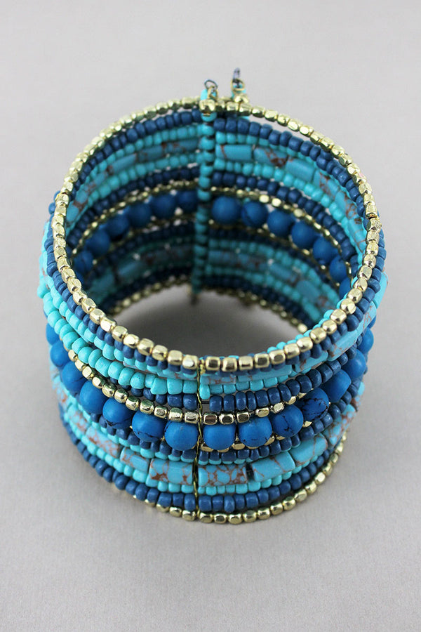 Turquoise Multi-Color Mixed Bead Wide Overlap Bracelet